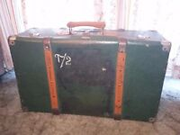 vintage hard suitcase trunk in dark green with beautiful wooden bead detail
