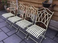 New Set Of Four Iron Garden Chairs.