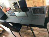 Black Dinning Table 4 Tall High Back Chairs