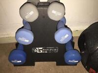 Dumbell set and 6kg medicine ball