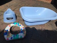 Potty, baby bath and toilet seat