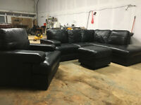 Black leather corner sofa chair and footstool DELIVERY AVAILALBE