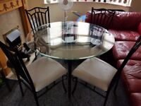 4x leather chairs/glass table/metal legs and frame