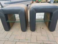 Two Leather and Glass Coffee/Side Tables