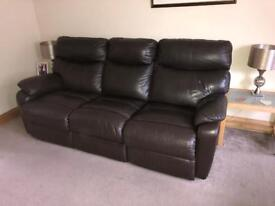 3 & 2 piece brown leather reclining sofa