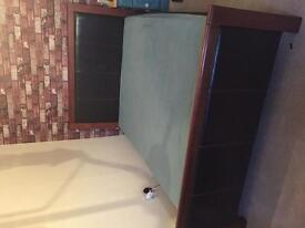 Leather and wood double bed