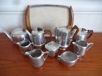 Lot 10 Pieces Piquot Ware Tray Tea pot Coffee Sugar Jug 1960s Newmaid Shiny