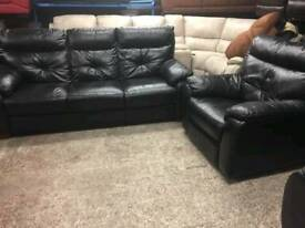 Black leather 3 seater sofa and reclining chair