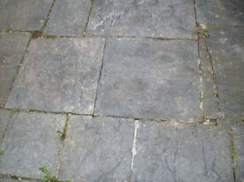 Heavy grey unbreakable georgian (1790) stone slab paving slate doorstep patio hearth reclaim step