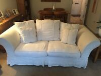 DFS 3 seater settee/ 3 seater bed settee and footstool