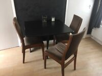 Folding Black Dining Table with 3 Chairs