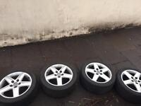 17 inch Audi A4 s line alloys -5 spoke wheels - with tyres - set of 4 - Good condition rims