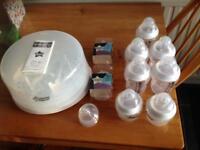 Tommee tippee microwave steriliser & bottles