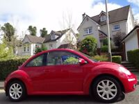 (2006) VW BEETLE 1.6 LUNA RED ONLY 65K MILES, FSH, TIMING BELT REPLACED, CREAM LEATHER, HEATED SEATS