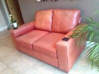 Contemporary red leather 2-seater sofa