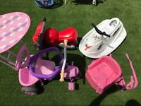 Girls tricycle + motorbike + booster seats