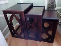 Nest of tables x 3 wooden in good condition