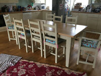 8 seater farmhouse shabby chic table/chairs