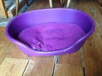 Small purple dog bed and cushion