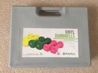 Set of 3 Vinyl Dumbells - almost new!
