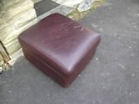 Leather foot stool brown
