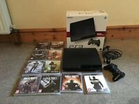 Sony Playstation 3 slim, 160gb boxed, controller and 10 games PS3. Great Xmas present. As new