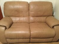 BARGAIN. 2 Piece leather sofa. 2 seater sofa and chair. All reclining.