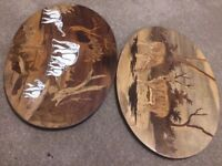 Pictures Set of 2 - Carved on wood, 3D effect.