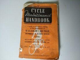 Cycle maintenance handbook Dated 1947