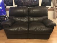 Used 3&2 seater recliner sofas (dark brown leather)