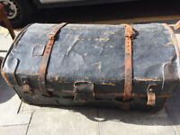Large Basket /Leather Black Trunk -Size L 40in D 27in H 18in