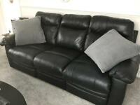 Faux leather 3 seater sofa and 2 arm chairs