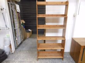 tall 6 shelf antique pine book shelving unit.excellent condition. can deliver