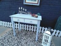 ABSOLUTELY STUNNING SOLID PINE FARMHOUSE CONSOLE TABLE PAINTED WITH LAURA ASHLEY PARIS GREY