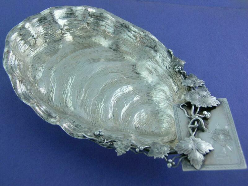 Rare Sterling Aesthetic Oyster Shell Dish w/ applied vines leaves Naturalistic