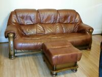 Sofa Leather ,Set In Wooden Frame,DFS , 3 &2 Seater, Armchair, Plus Stool!