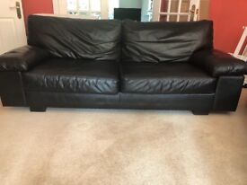 2 x 3 seater black leather sofa