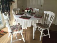 White wood kitchen table/4 chairs