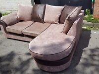 Stunning brown and beige corner sofa.Modern design with chase lounge.1 month old. Clean.Can deliver