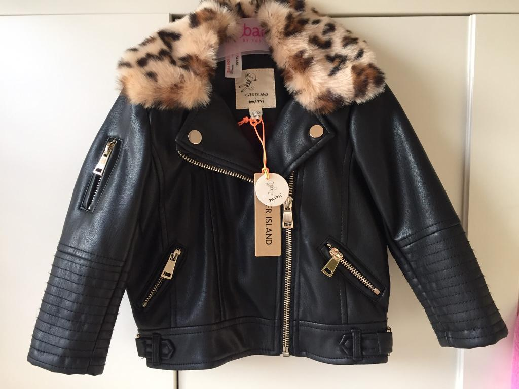 River island baby girl leather jacket with fur 9-12m