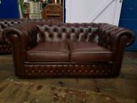 Brown Chesterfield 2 Seater Sofa