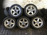 5X Ford Citroen Peugeot - Robin Hood Alloy Wheels with NEW, UNUSED TYRES - No Buckles or Curbing
