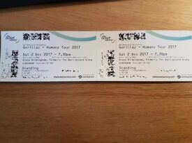 2 x Standing Tickets Gorillaz Birmingham Arena 2nd December