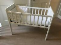 White wooden baby crib mothercare