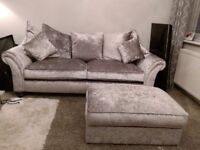 ABSOLOUTE BARGAIN!******Silver glitz 3seat sofa and footstool