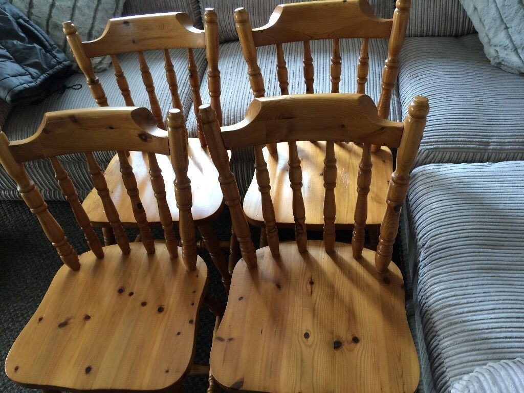 4 SOLID PINE CHAIRS@   in Exeter, Devon   Gumtree