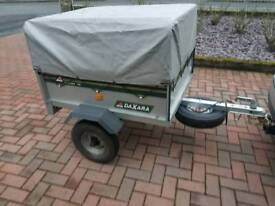 Daxara car tipping trailer with extra high frame and cover brand new spare wheel