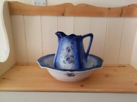 Cornflower bowl and pitcher