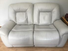 Leather recliner and 2 fabric sofas
