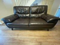 Brown leather sofa and recliner chair from DFS